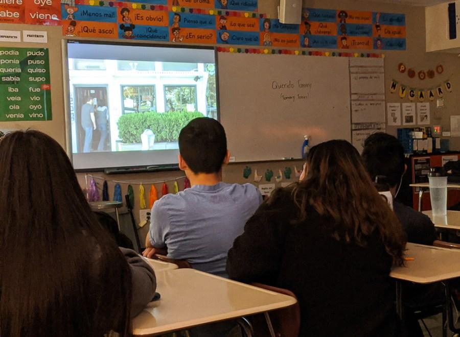 Spanish class watching movie East Side Sushi