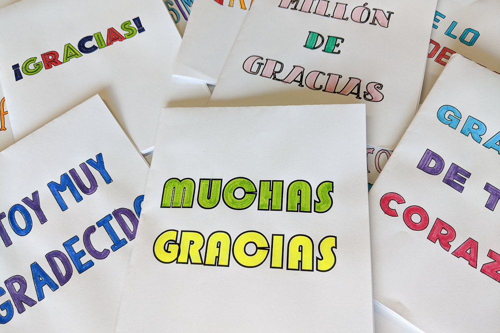 thank you card template in Spanish