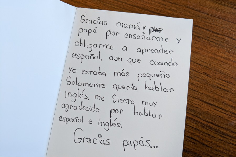 thank you card to parents in Spanish