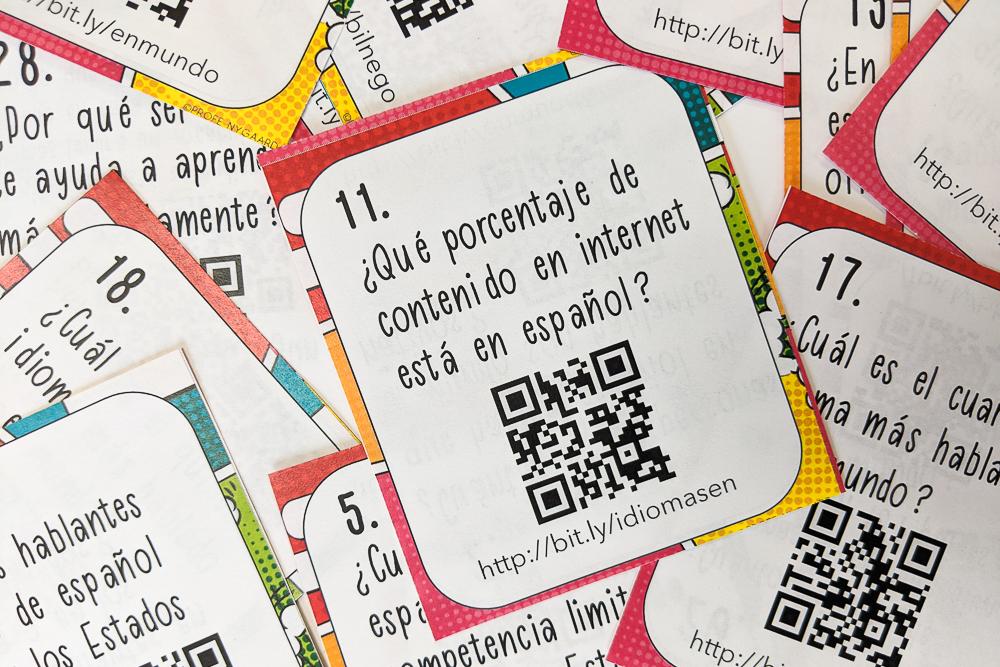 bilingual fact task cards in Spanish