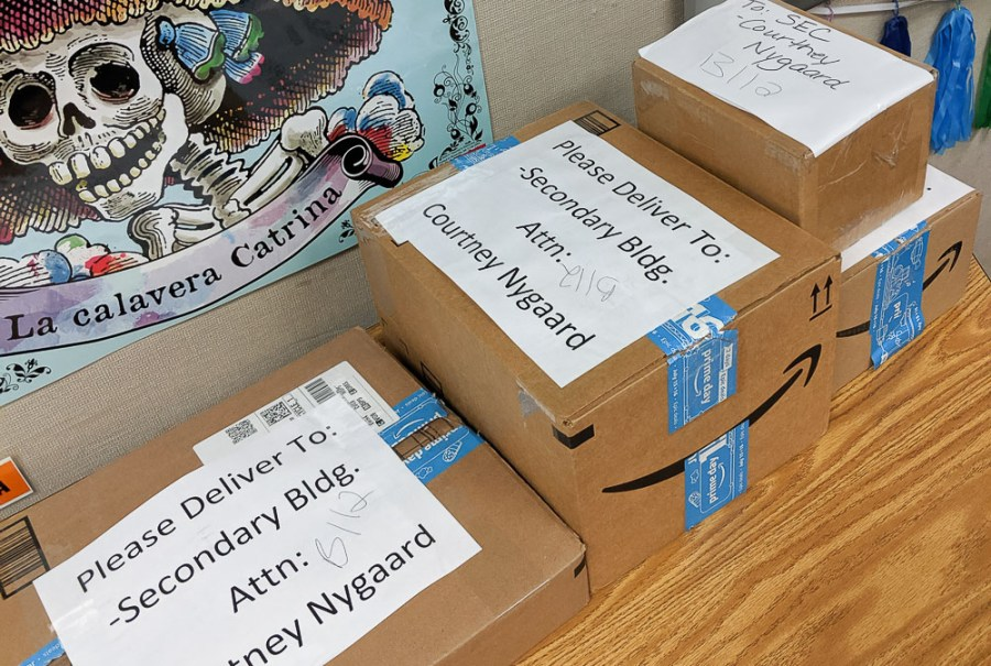 Amazon boxes of book donations