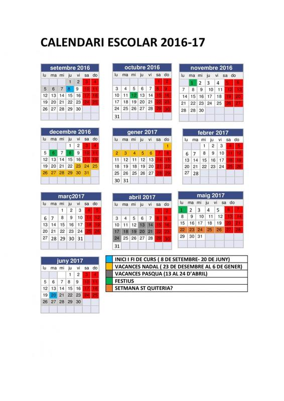 Calendari escolar 2016-17 Almassora.