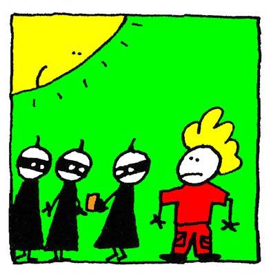 Les Ninjas se consultent sur le flyer.