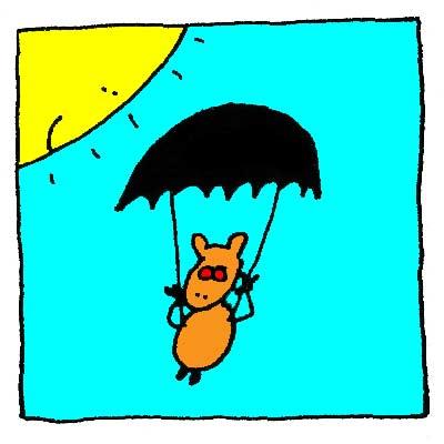 Scruïk va à l'abordage en parachute.