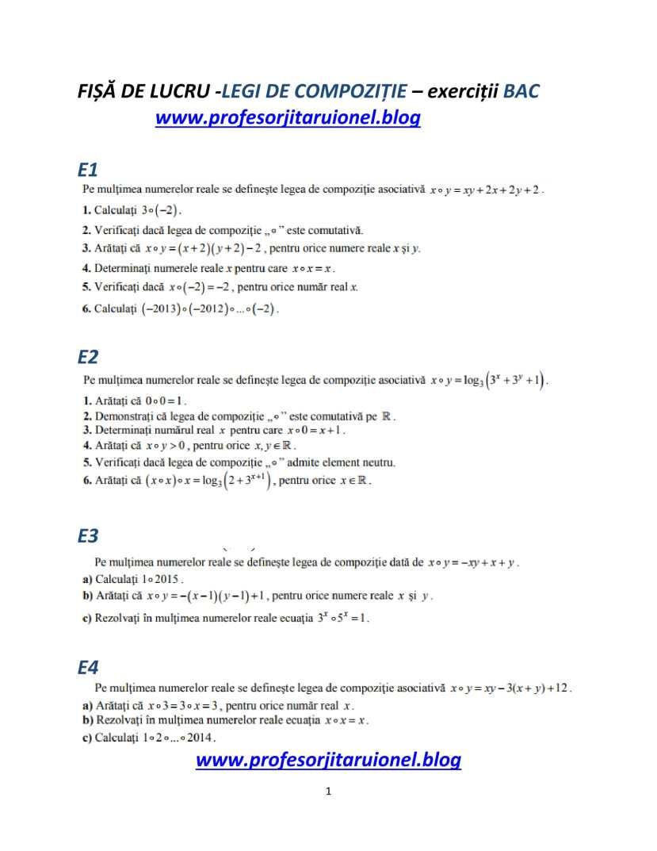 FISA DE LUCRU LEGI DE COMPOZITIE- exexrcitii date la BAC M1M2 M3-1