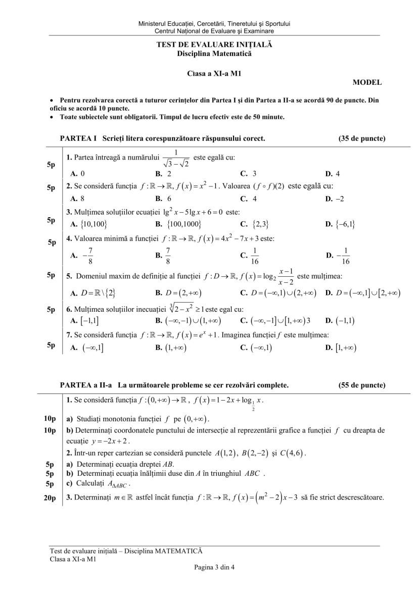 Test initial cls. a XI M1-3