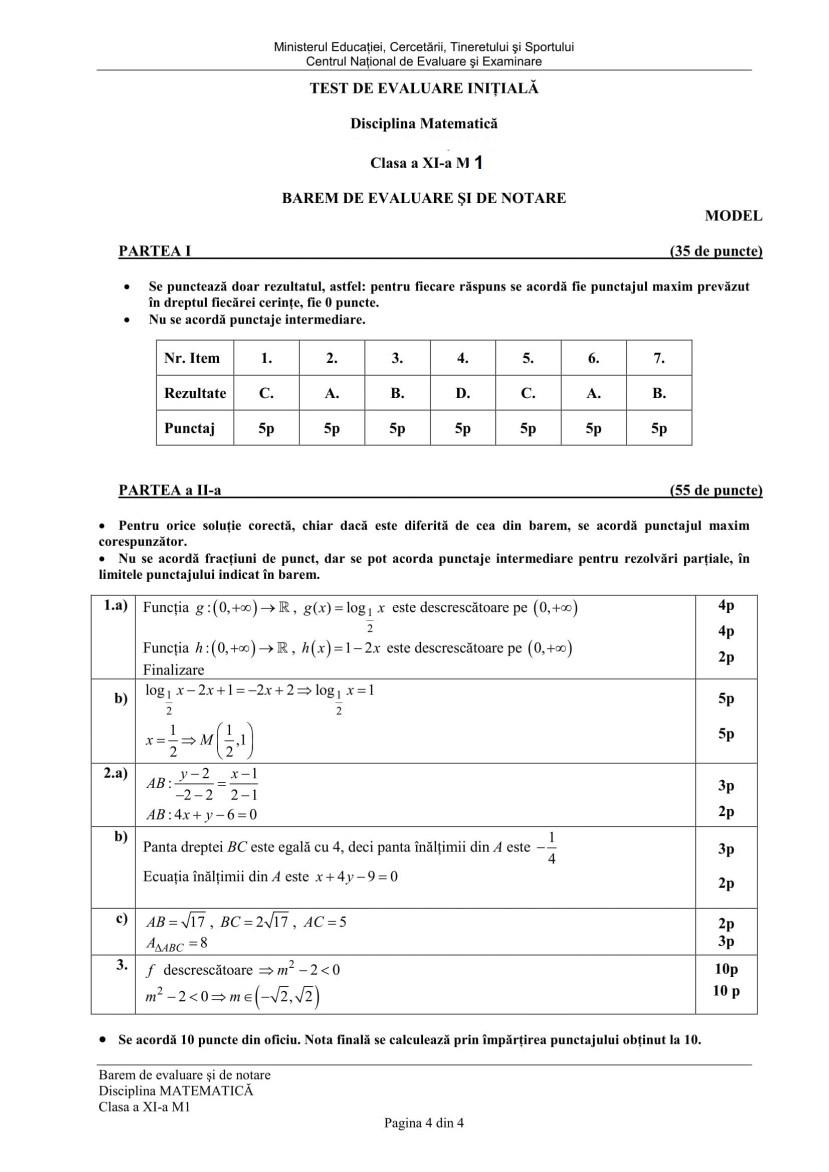 Test initial cls. a XI M1-4