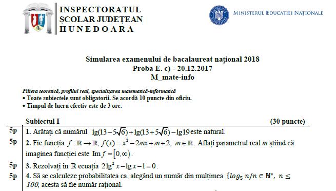 Subiecte +bareme -Matematică -Simulare BAC 2018 -ISJ