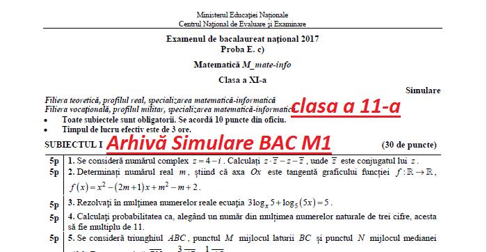 Simulare BAC 2018 Matematică -subiecte +bareme Din Anii