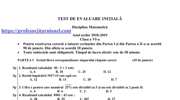 Simulare Clasa A 8 A 2019 Matematica: Evaluare Nationala 2019 Clasa 7 Update