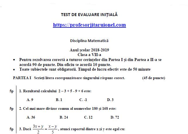 Simulare Clasa A 8 A 2019 Matematica: Test Initial Matematica Clasa A 7-a (cu Rezolvare -barem