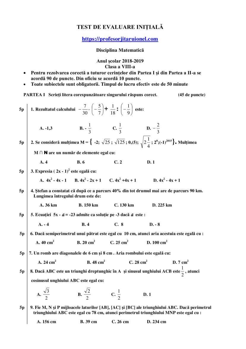 test-de-evaluare-intiala-clasa-a-8-a-matematica-1