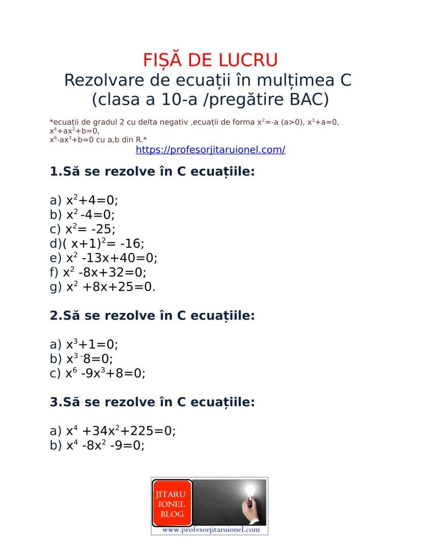 Rezolvare de ecuatii in C -fisa de lucru-1