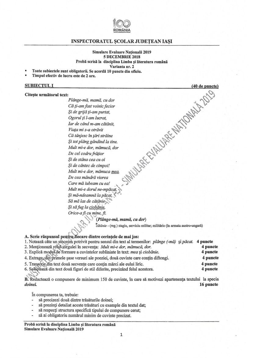Simularea examenelor naționale IAȘI -decembrie 2018 -BAC ...