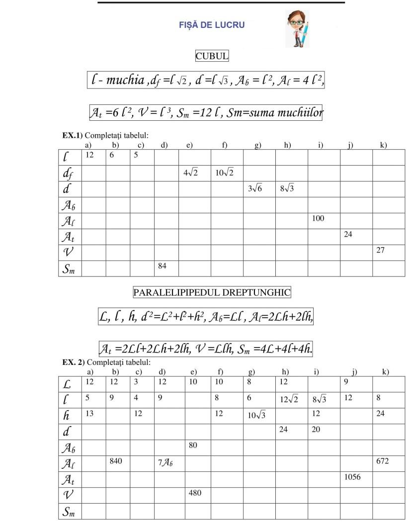 Fisa-de-lucru-Formule-CUBUL-PARALELIPIPEDUL-aria-laterala-totala-volumul-1