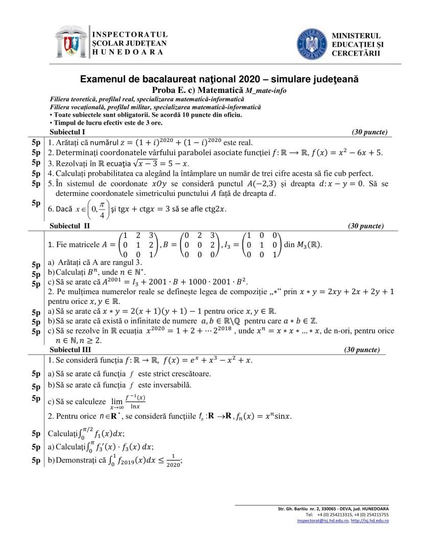 Simulare-BAC 2020-matematica-HD-mate-info-var-1