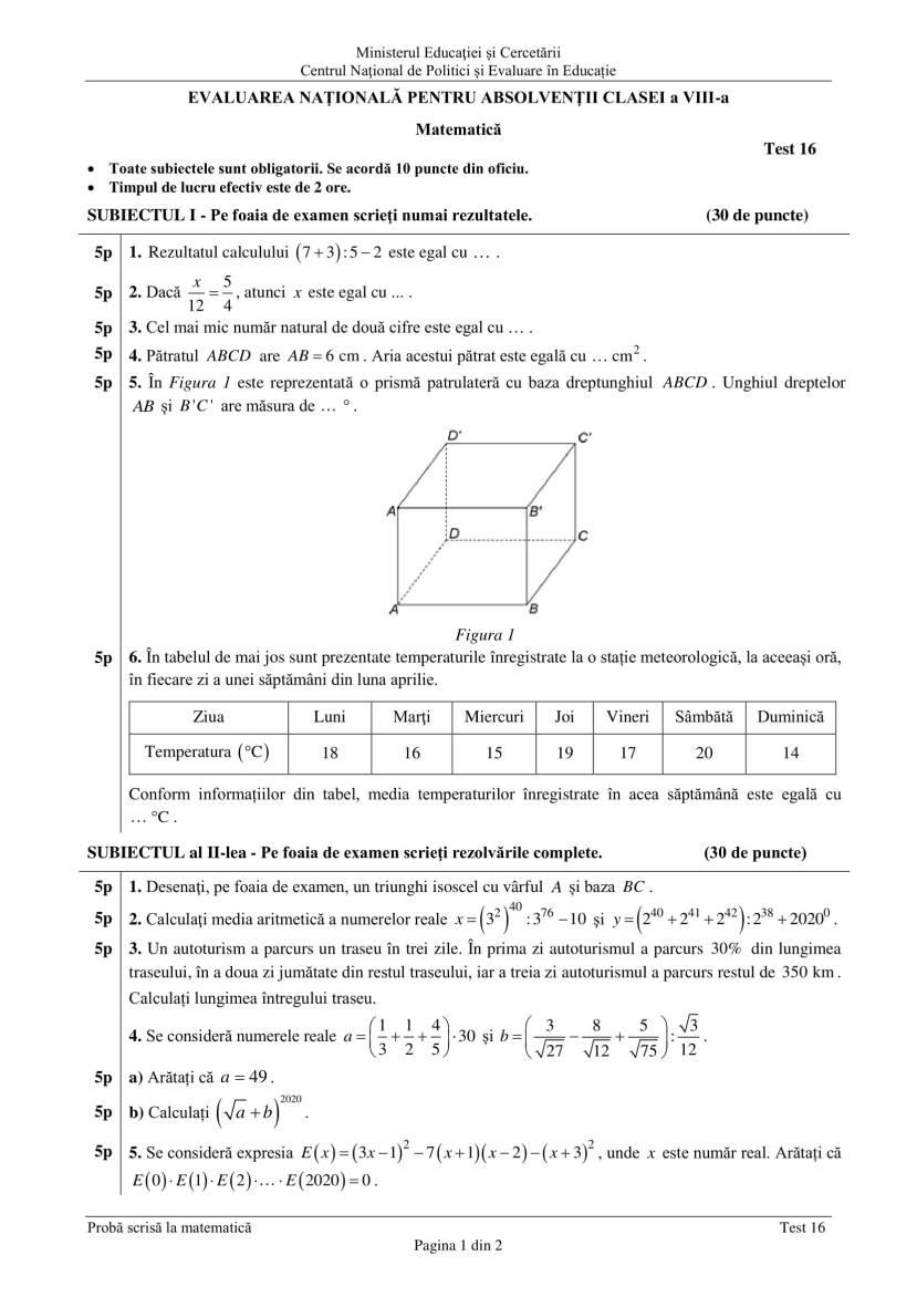 ENVIII_matematica_2020_Test 16-1