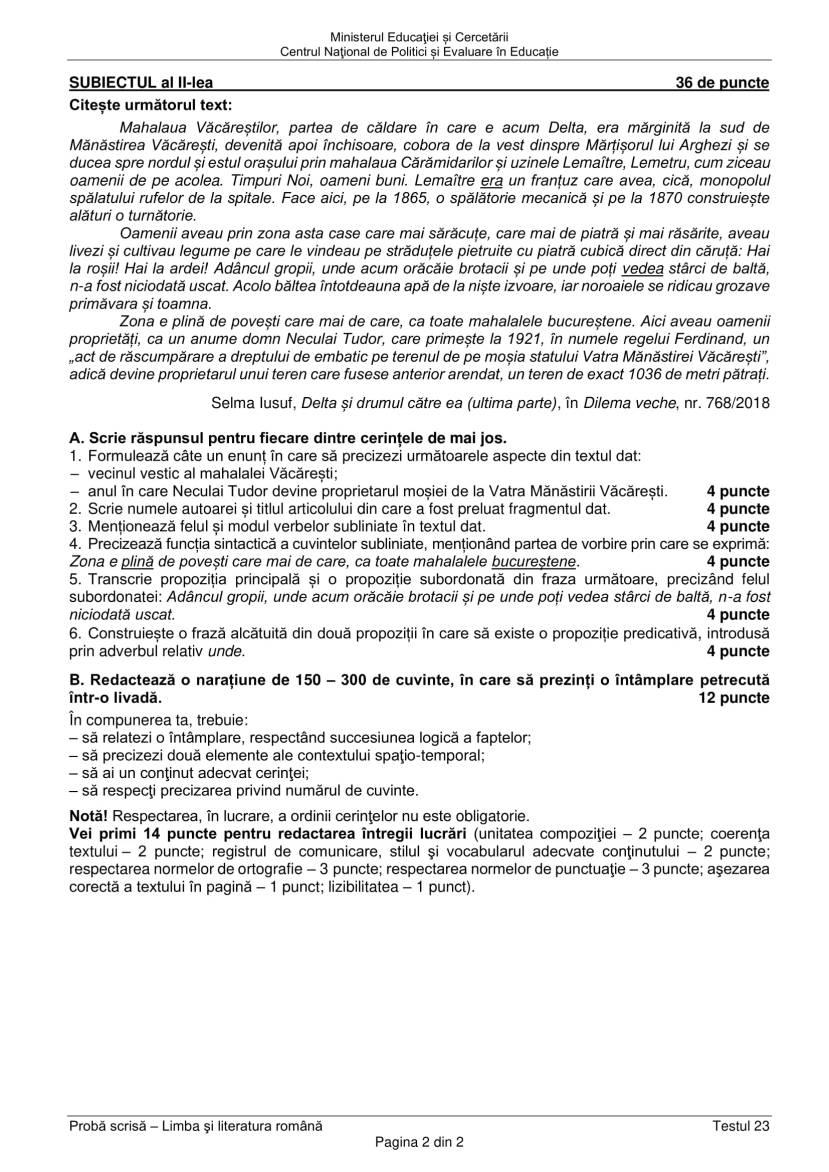 EN_VIII_Limba_romana_2020_Testul_23-2
