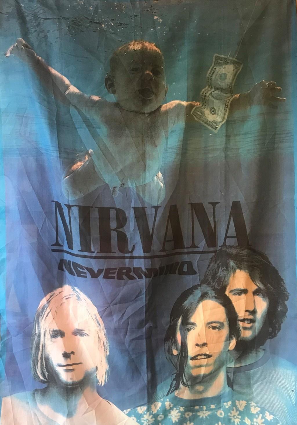 Sábana de la portada del álbum Nevermind de Nirvana