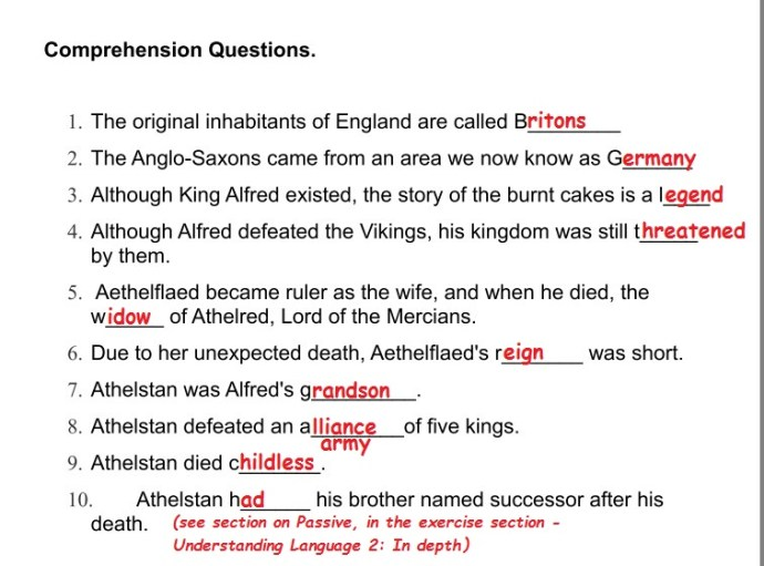 comprehension answers