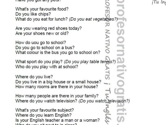 Teachers pdf: Questions for Cambridge YL Starters |