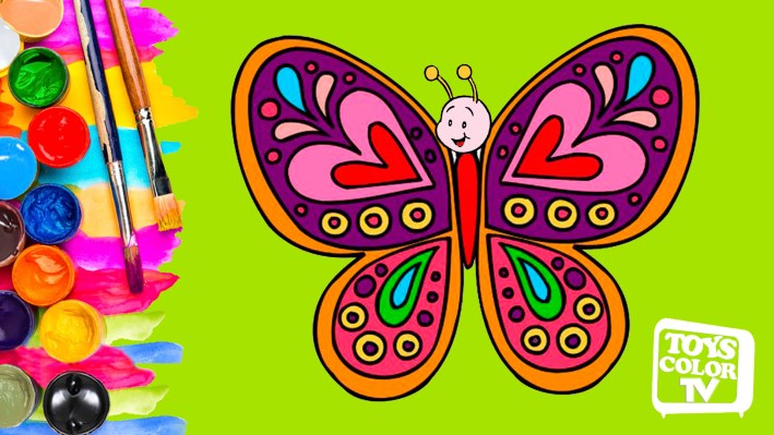 Draw and Color a Butterfly, Learn the Colors of the Butterfly, Drawing and Painting for Kids