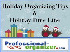 Holiday organizing and holiday time line