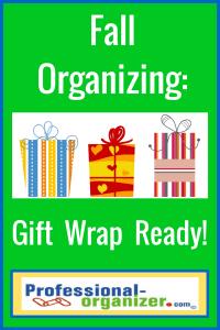 fall organizing gift wrap organizing