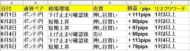 2020年6月1日(月)~6月5日(金)勝率66% +496pips(1週間)福岡|FXブログ