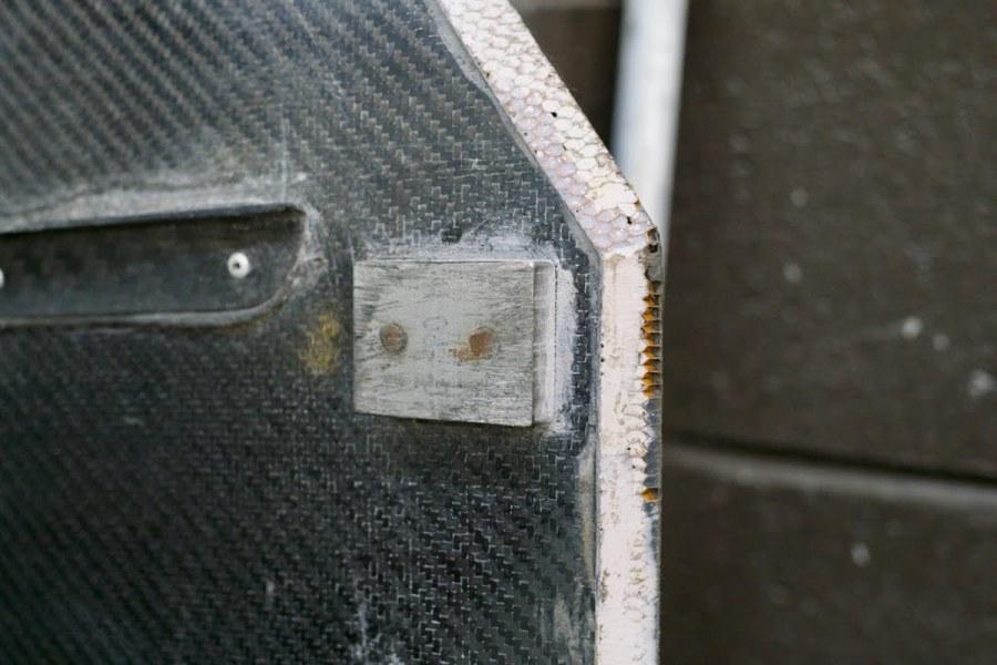 Titanium Skid Block on Carbon Splitter