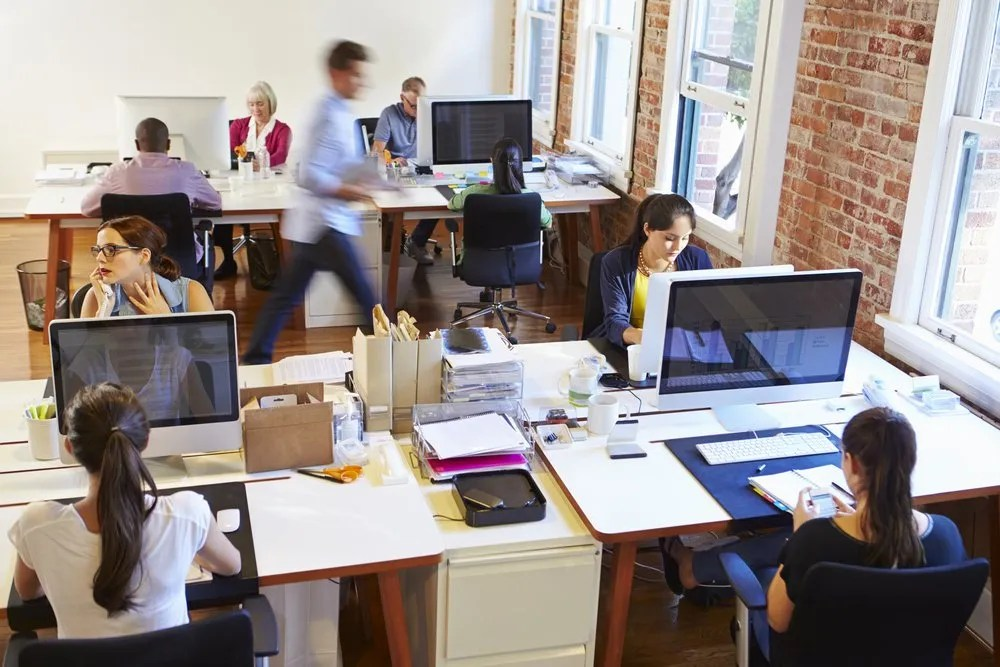 busy office with staff working
