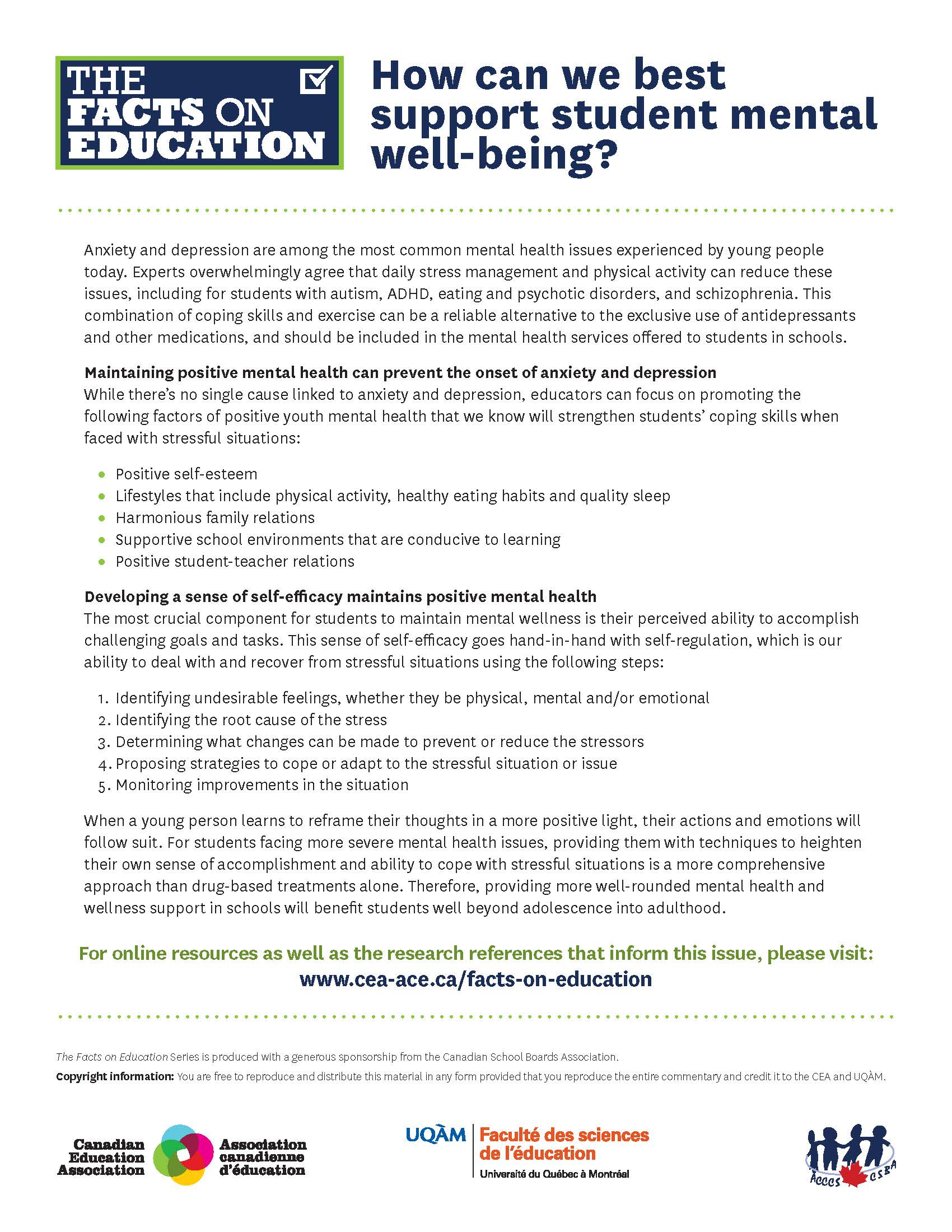 Cea Releases Facts On Education Document On Mental Health
