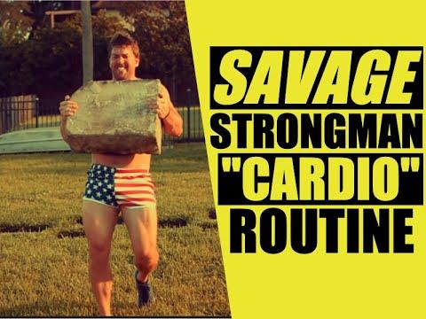 SAVAGE Strongman Core & Abet Circuit! [Stone & Kettlebell Cardio] | Chandler Marchman