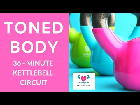 Toned Physique  I 36-Minute Kettlebell Circuit With Music For Home Fitness by 2FitnessLovers