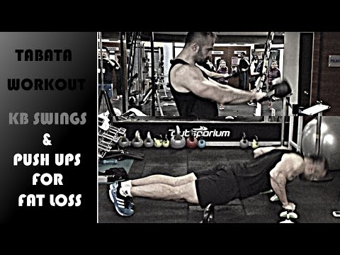 Tabata Workout: Kettlebell Swing & Push Up for Cumbersome Loss[ENG Subs]