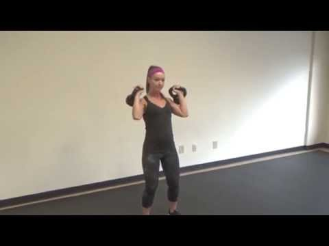 Female demonstrates full body kettlebell exercise for weight loss