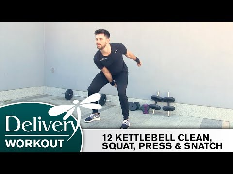 #2 – 12 KETTLEBELL CLEAN, SQUAT, PRESS & SNATCH