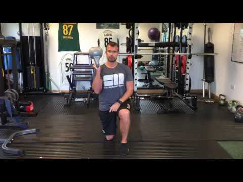 Cricket Energy exercise of week. Bottom up kettlebell lunge