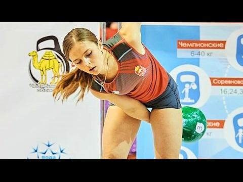 Ksenia Dedyukhina – 24 kg kettlebell snatch 160 reps (2016)