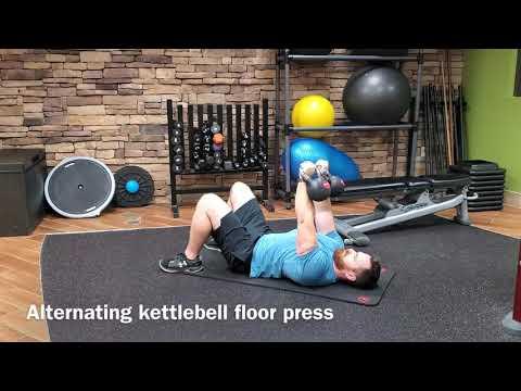 Alternating kettlebell ground press