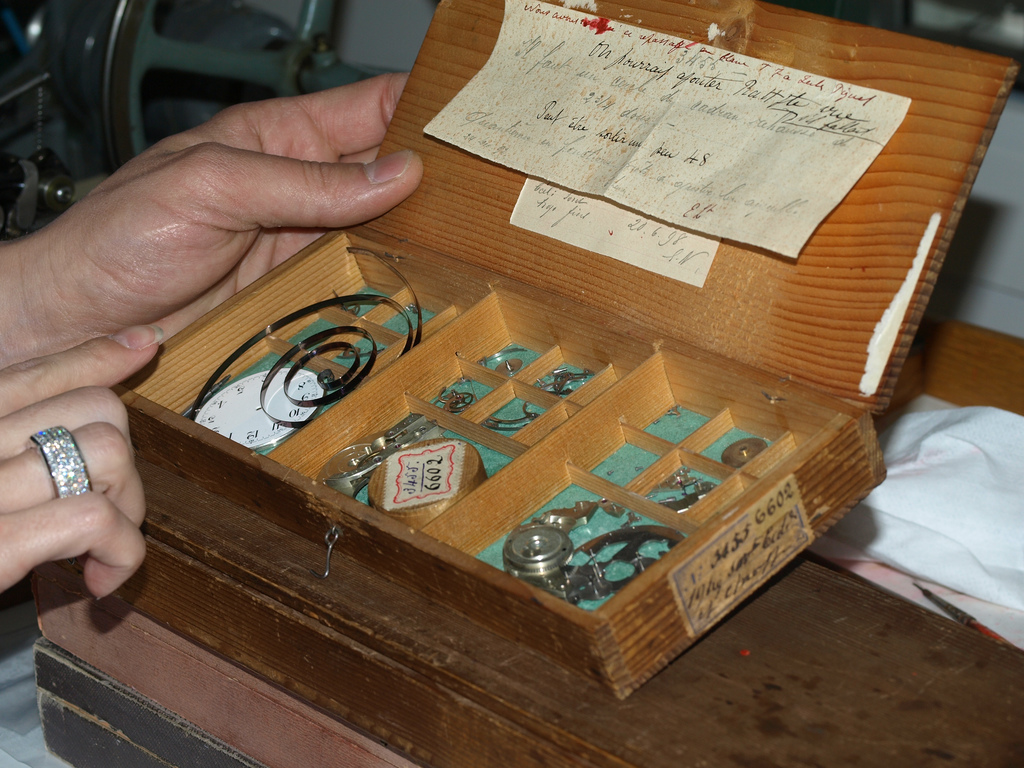 Archival watch parts from vintage watches at AP