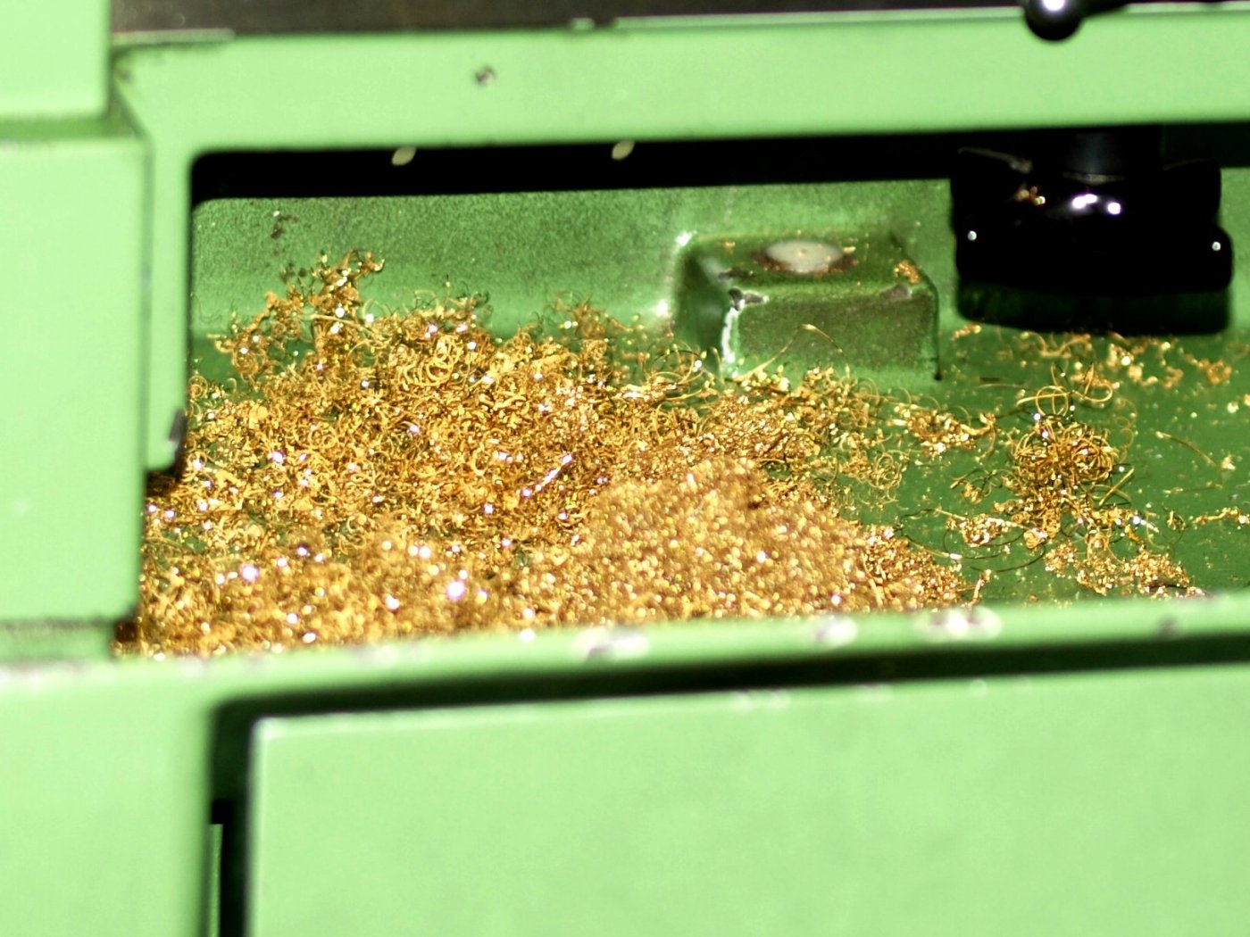Gold shavings that are left behind after machine milling process