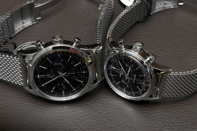 Breitling Transocean Chronograph 43 mm and 38 mm (left and right)