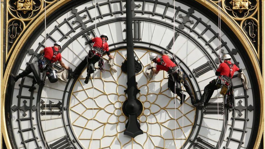 Cleaning London Big Ben Clock