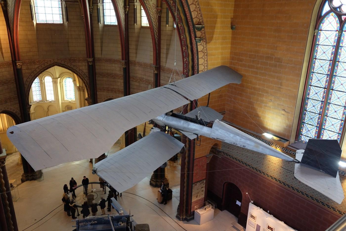 1911 Breguet biplane airplane Type R.U1 No.40. located at the Musée des Arts et Métiers, Paris