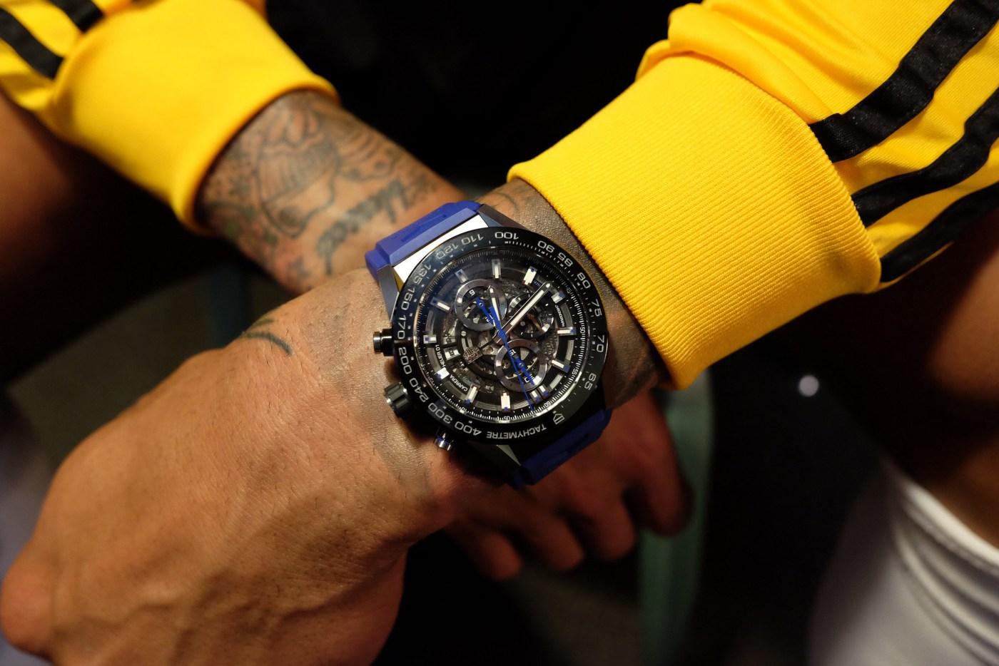 Tim Howard wristshot with his TAG Heuer Carrera
