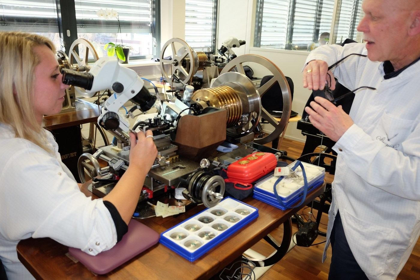 Looking on as a master engraver performs guilloche-work on a vintage rose engine