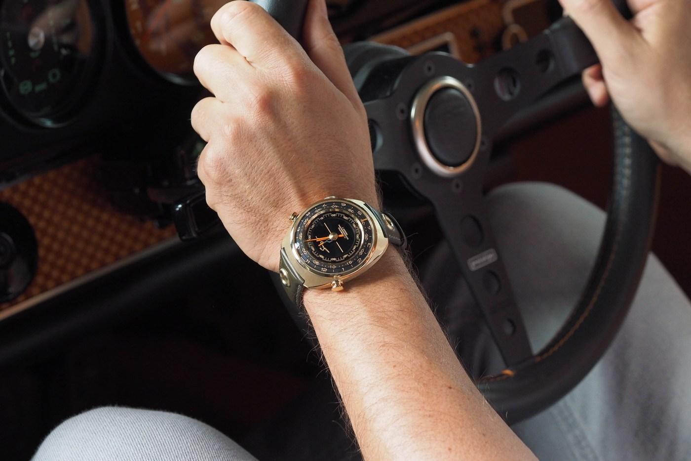Singer Track 1 wristshot inside a Singer Porsche 911