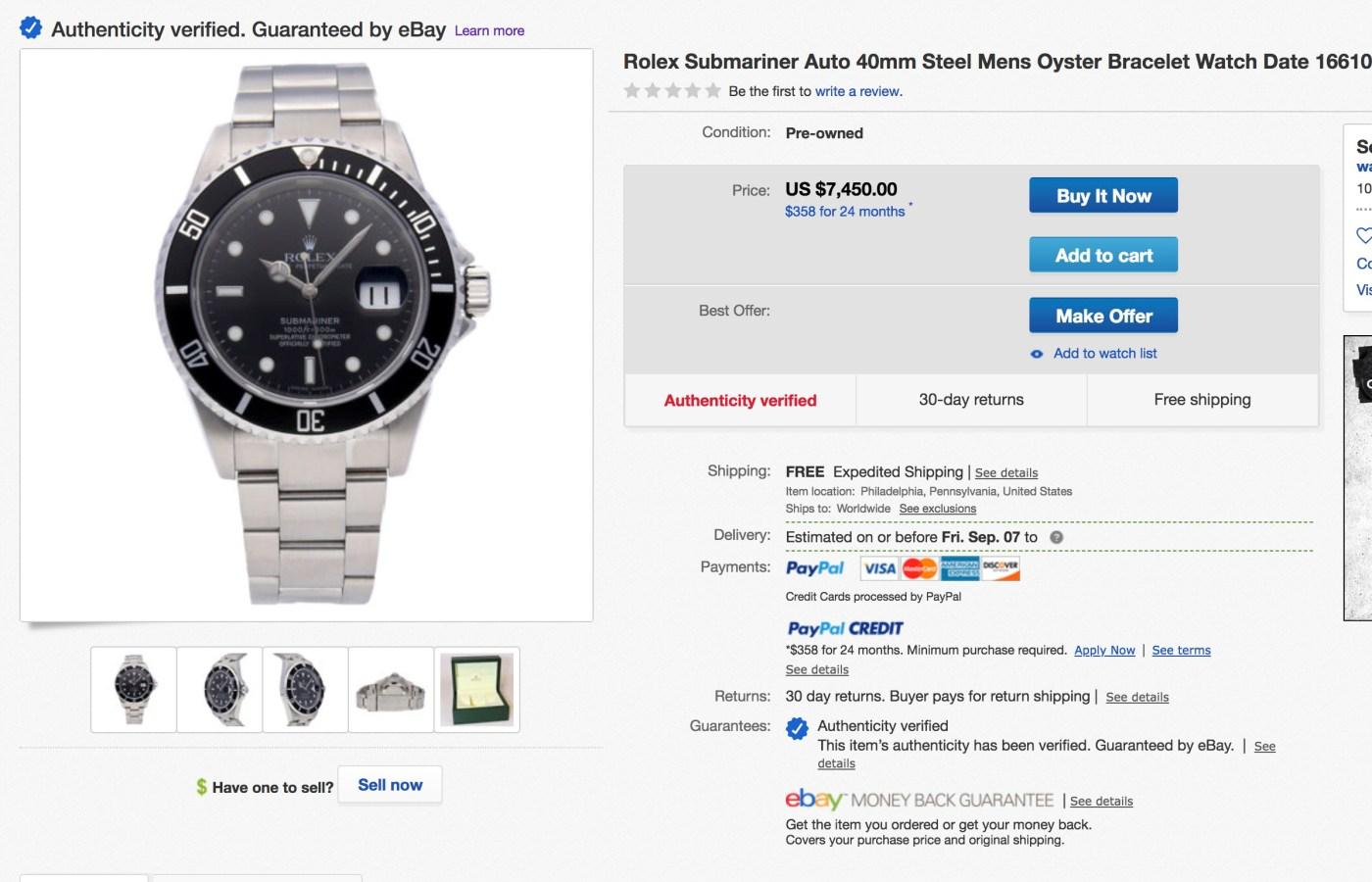 eBay Authenticate Rolex Submariner Watch