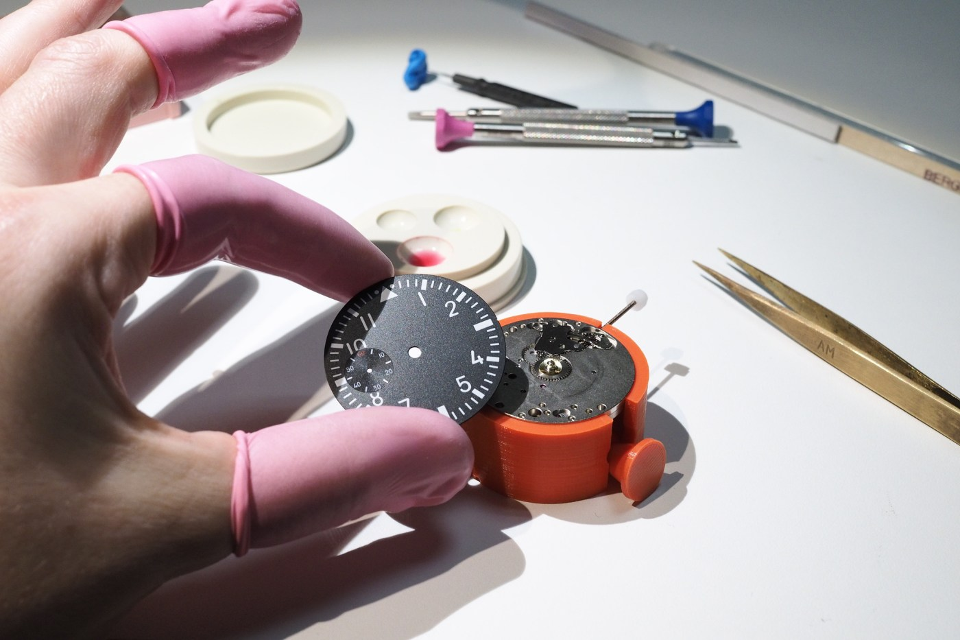 Watch dial before mounting to movement
